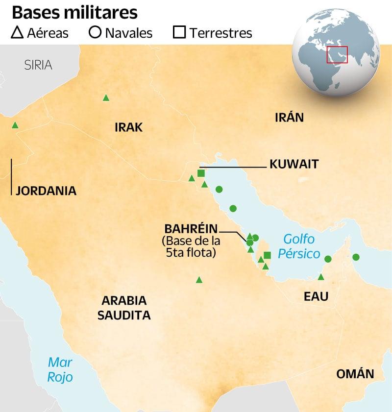 Principales bases, instalaciones y armamendo de EU e Irán